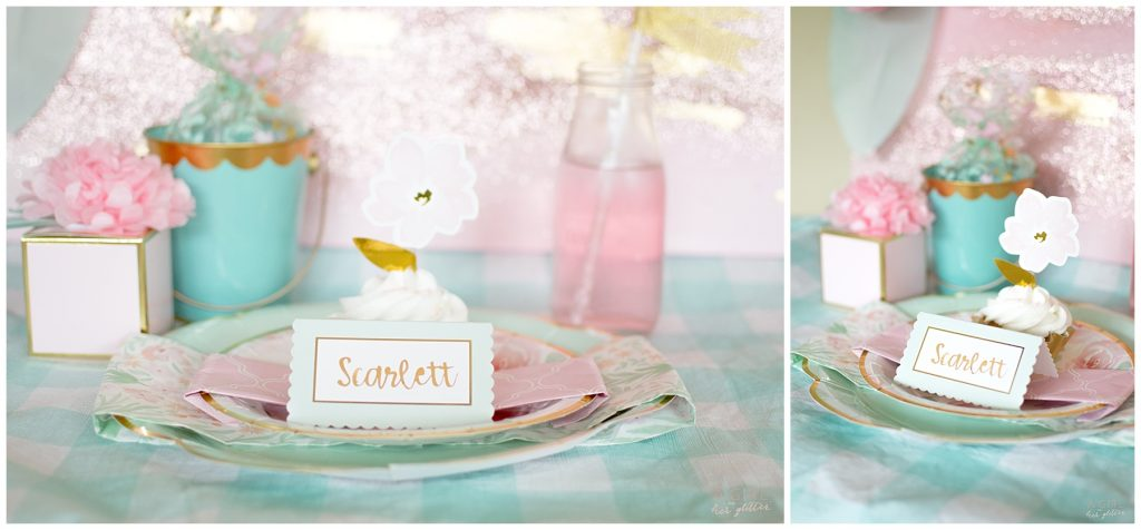 Blush and Mint place setting
