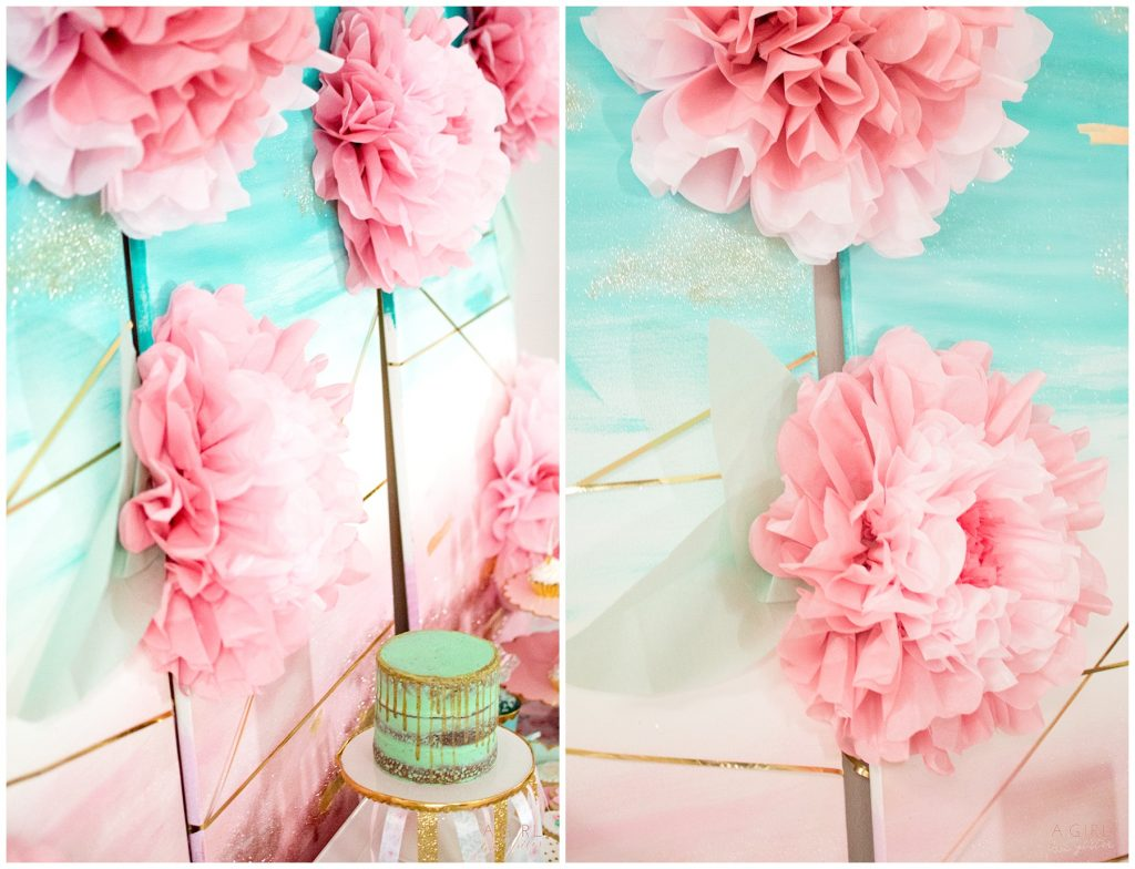 tissue paper flowers mint and blush