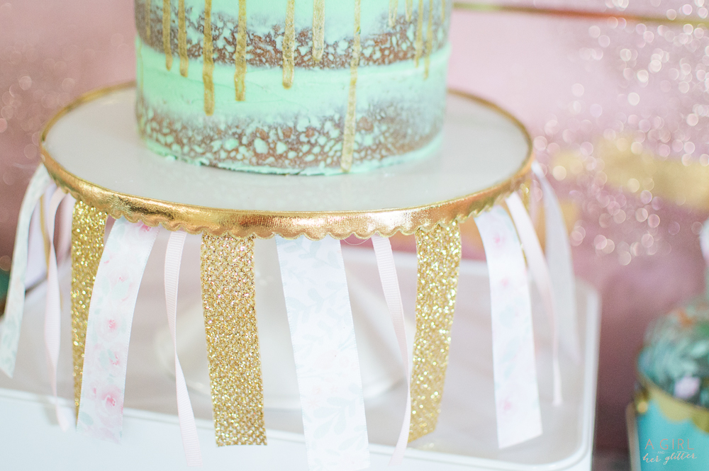 blush and mint ribbon for cake