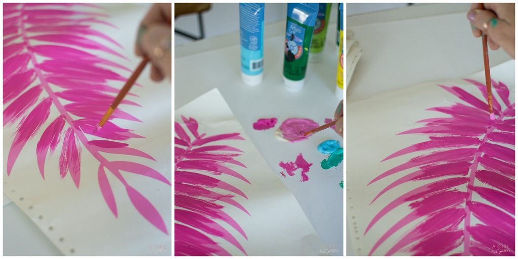 Tropical leaves painted