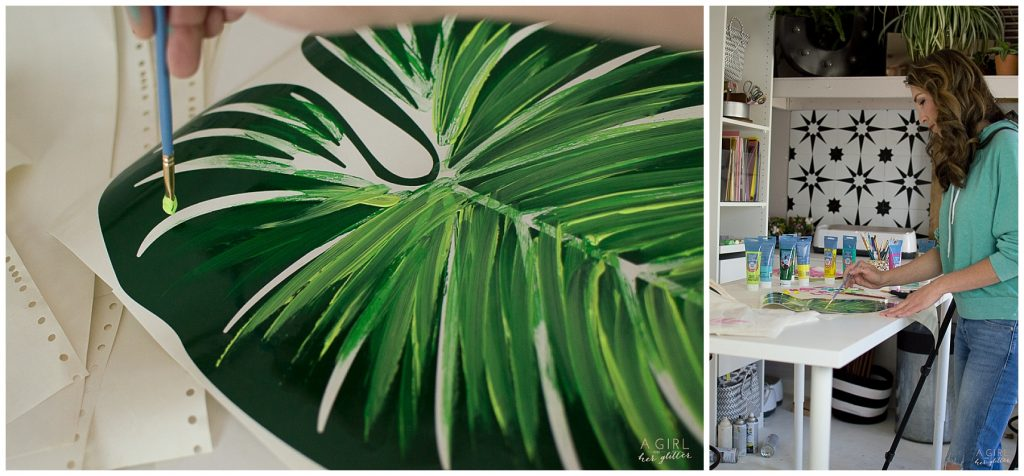 Tropical leaf painting