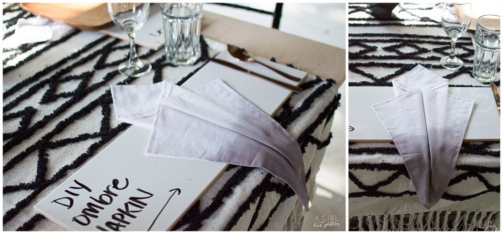 DIy dyed ombre napkins