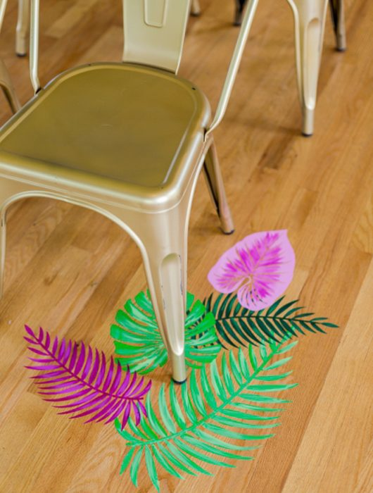Painted tropical leaves